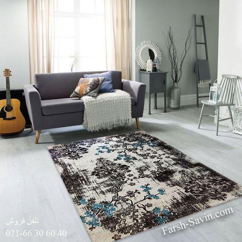 فرش ساوین 1519 آبی فرش پرفروش
