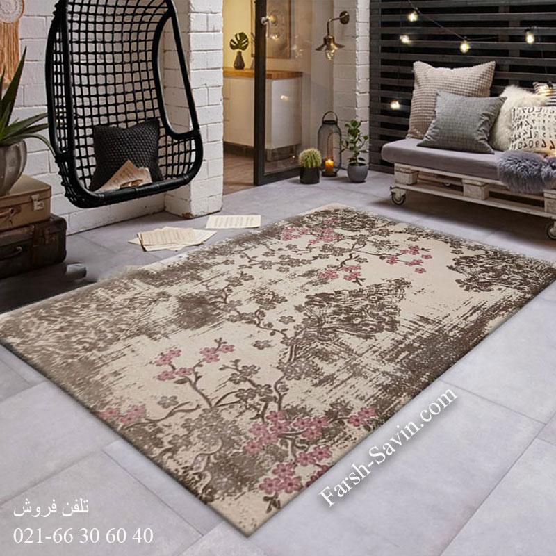 فرش ساوین 1519 صورتی فرش ارزان