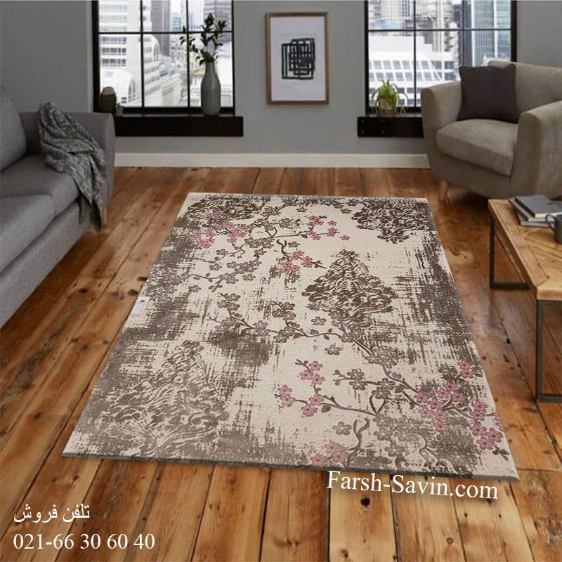 فرش ساوین 1519 صورتی فرش پرفروش