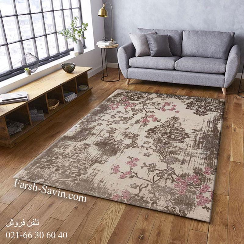 فرش ساوین 1519 صورتی فرش اتاق خواب
