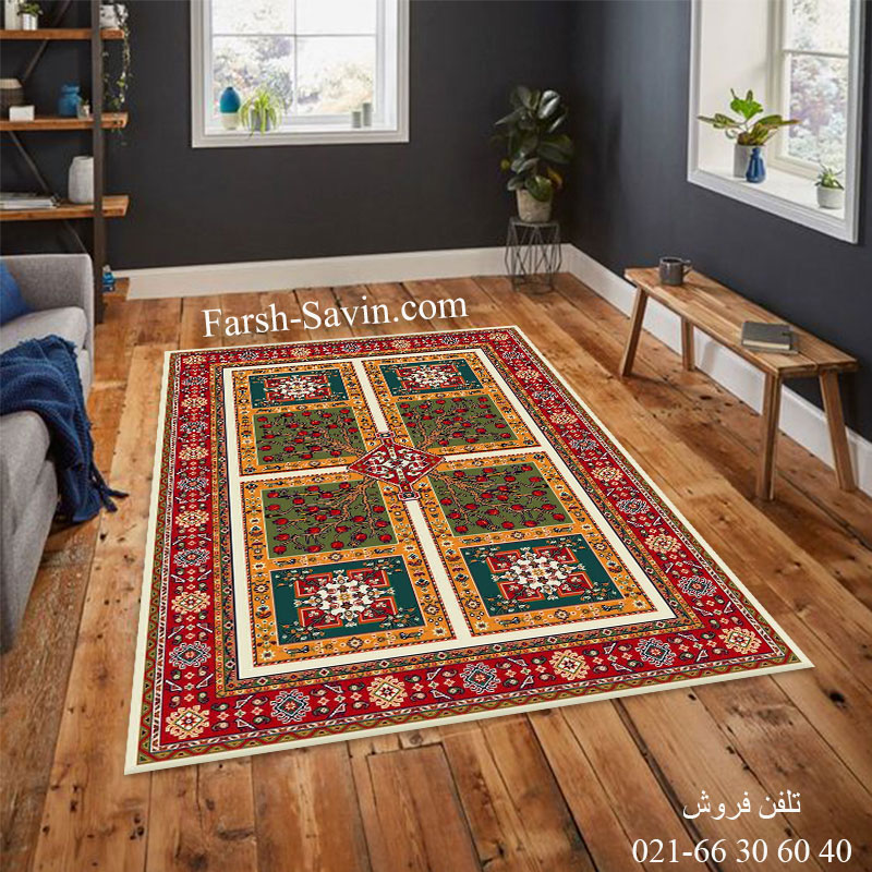 فرش ساوین باغ انار کرم فرش پرفروش