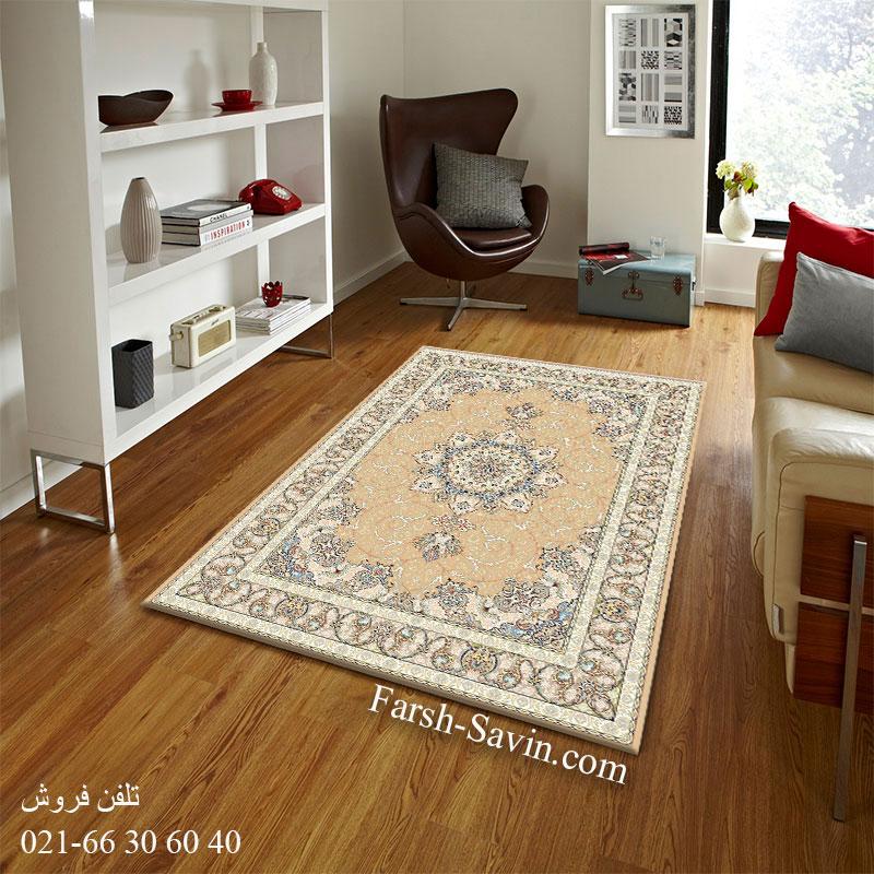 فرش ساوین 3000 بژ فرش کلاسیک اتاق خواب