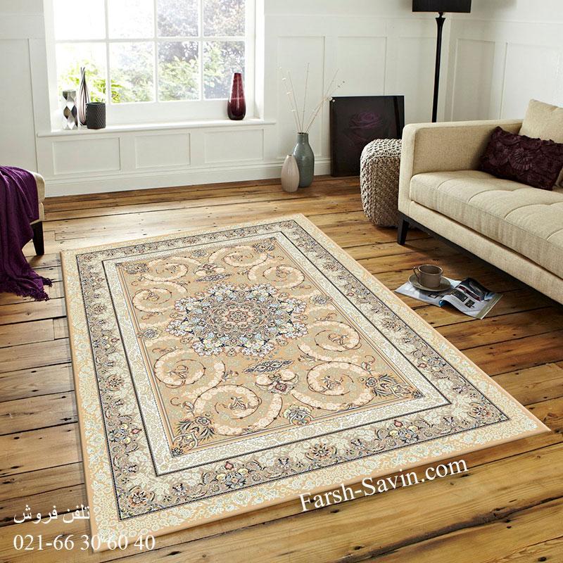 فرش ساوین 3001 بژ فرش خوش نقشه