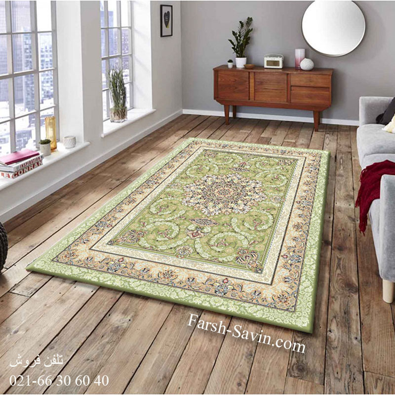 فرش ساوین 3001 سبز فرش خوش نقشه