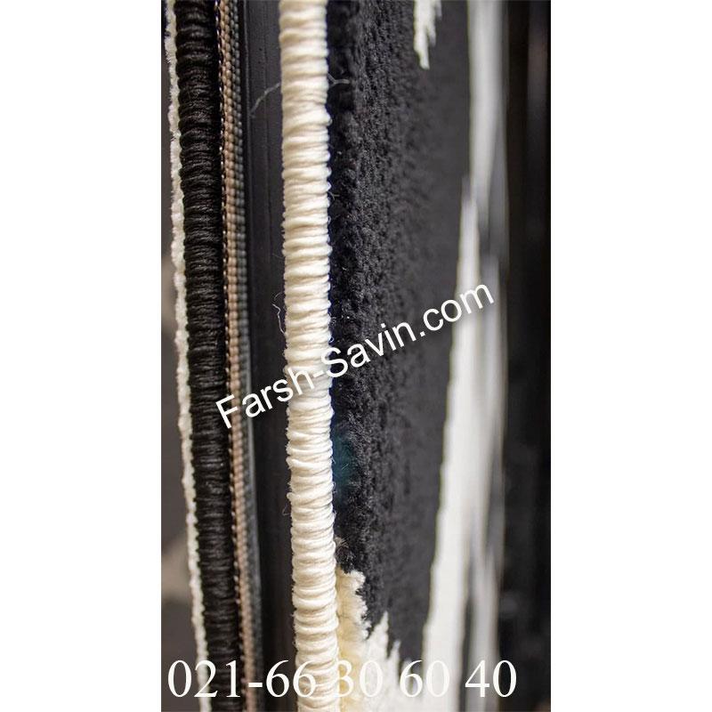فرش ساوین 4019 سفید مشکی فرش با کیفیت