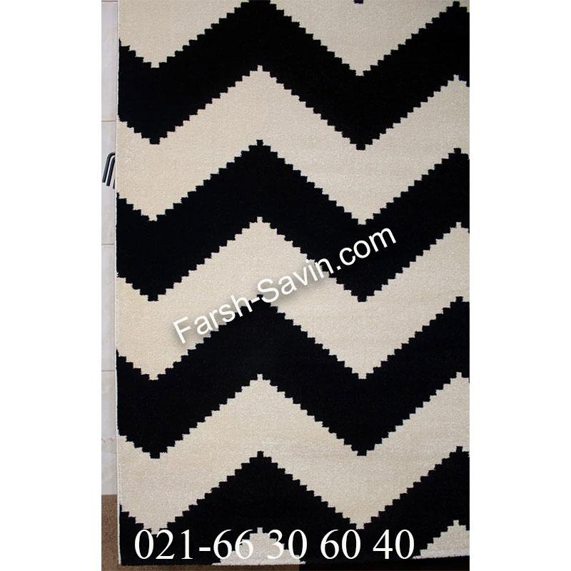 فرش ساوین 4019 سفید مشکی فرش پرفروش