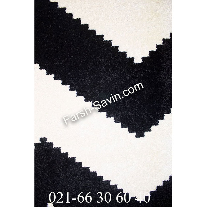 فرش ساوین 4019 سفید مشکی فرش فانتزی