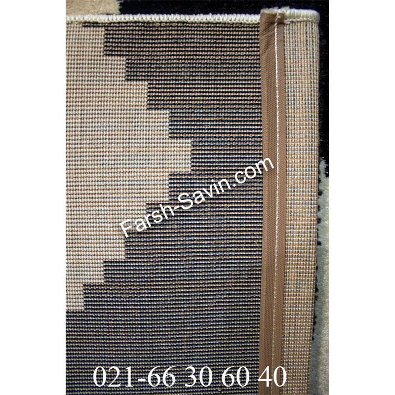 فرش ساوین 4019 سفید مشکی فرش خاص