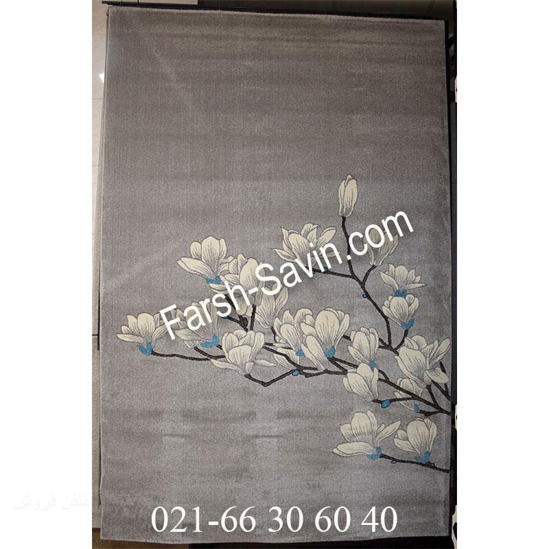 فرش ساوین 4037 نقره ای روشن فرش پرفروش