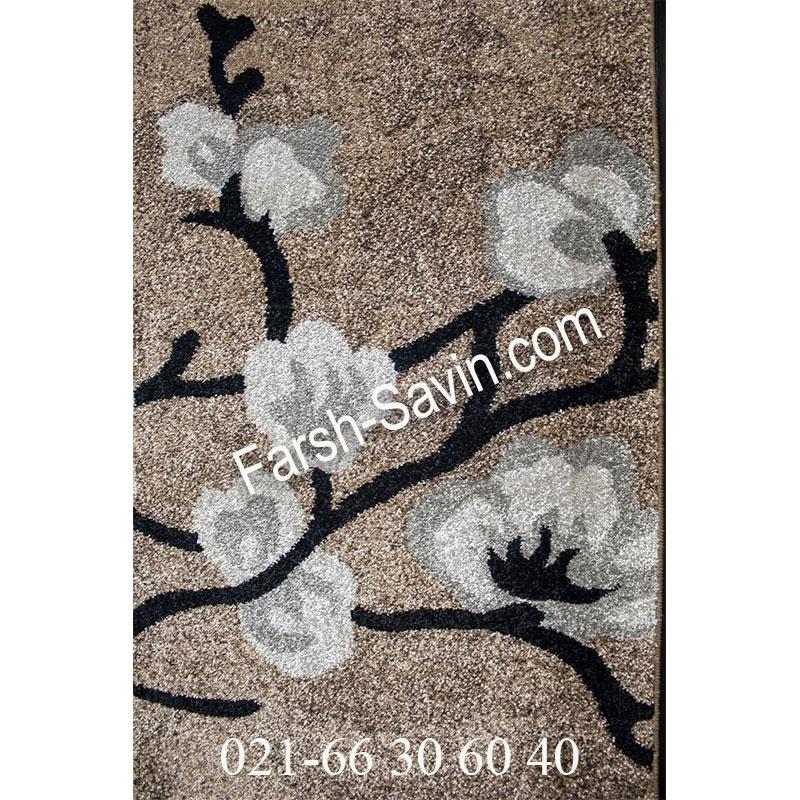فرش ساوین 4038 شکلاتی فرش جذاب