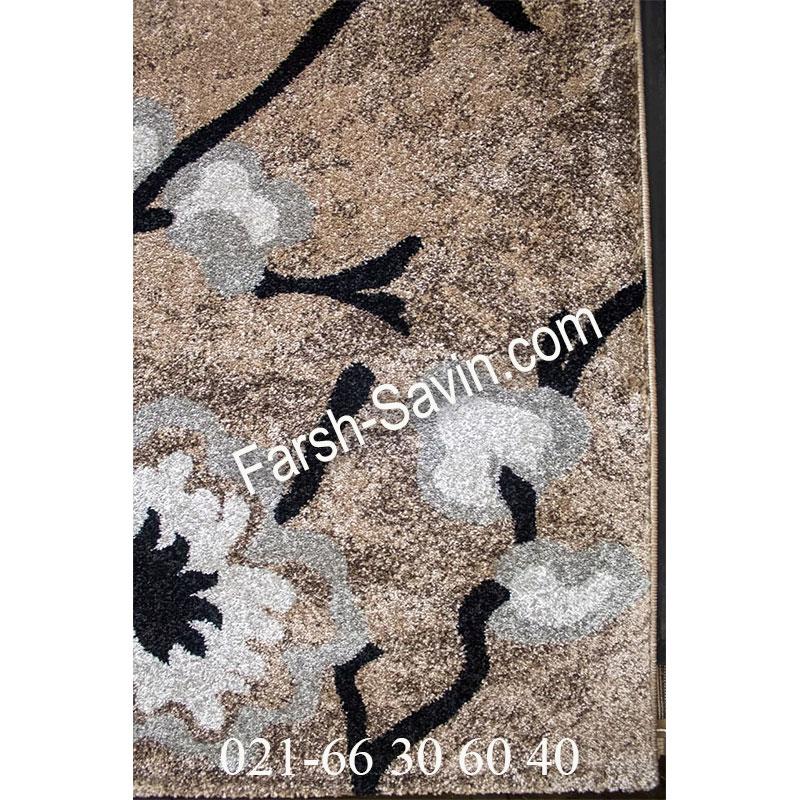 فرش ساوین 4038 شکلاتی فرش شکیل