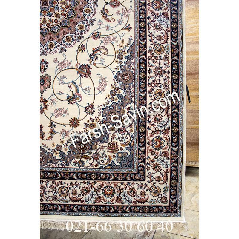 فرش ساوین 4509 کرم فرش اتاق پذیرایی