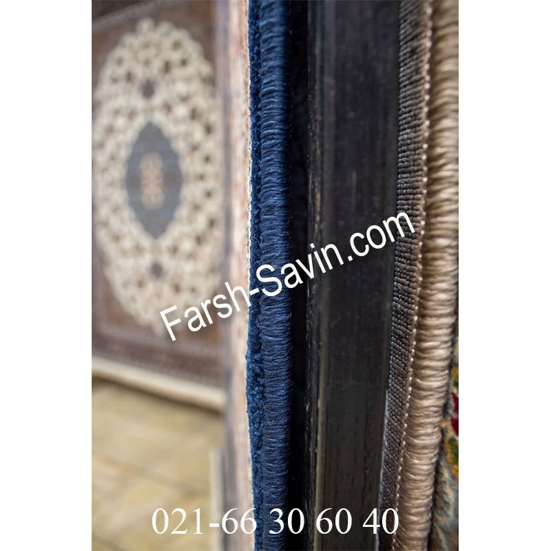 فرش ساوین 4509 سرمه ای فرش ارزان
