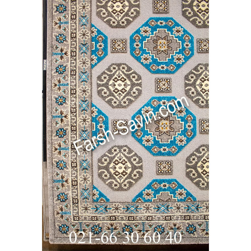 فرش ساوین 7400 نقره ای روشن فرش طرح خاص