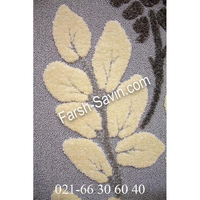 فرش ساوین 7402 نقره ای روشن فرش پرفروش