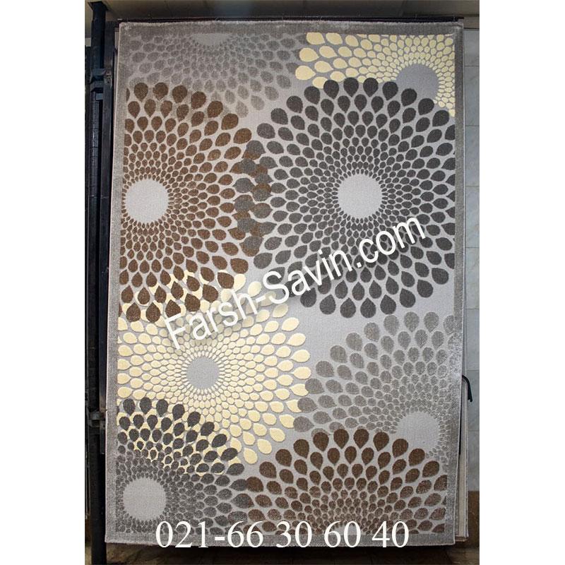 فرشش ساوین 7404 نقره ای روشن فرش اتاق پذیرایی