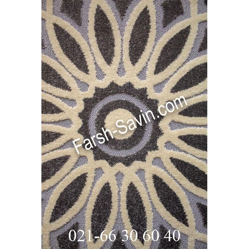 فرش ساوین 7405 نقره ای روشن فرش پرفروش