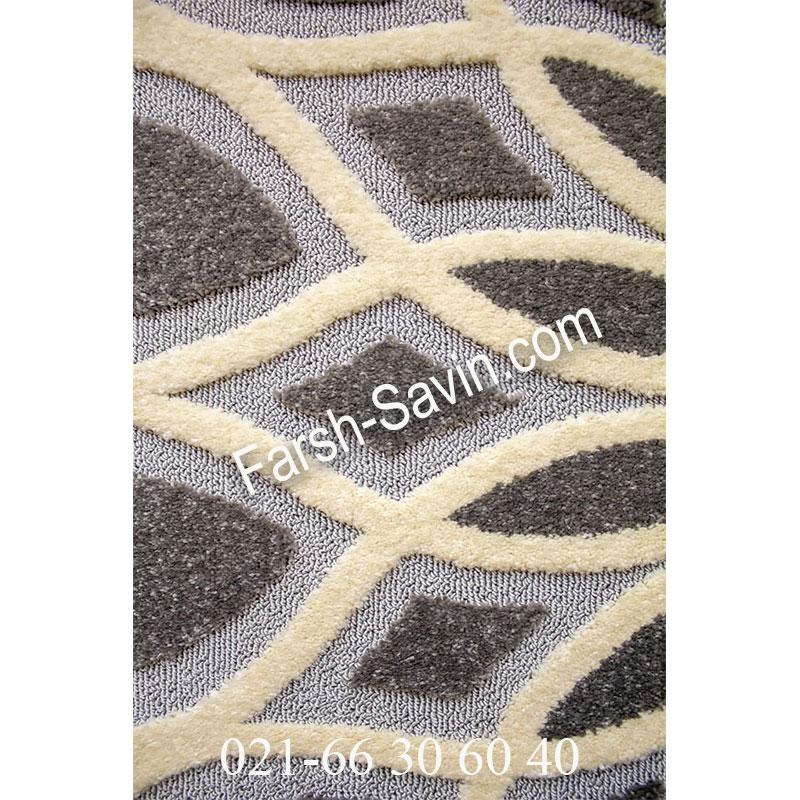 فرش ساوین 7405 نقره ای روشن فرش ارزان