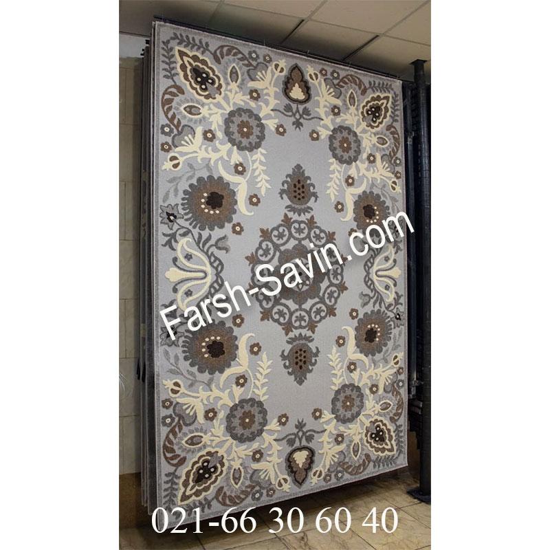 فرش ساوین 7407 نقره ای روشن فرش اتاق پذیرایی