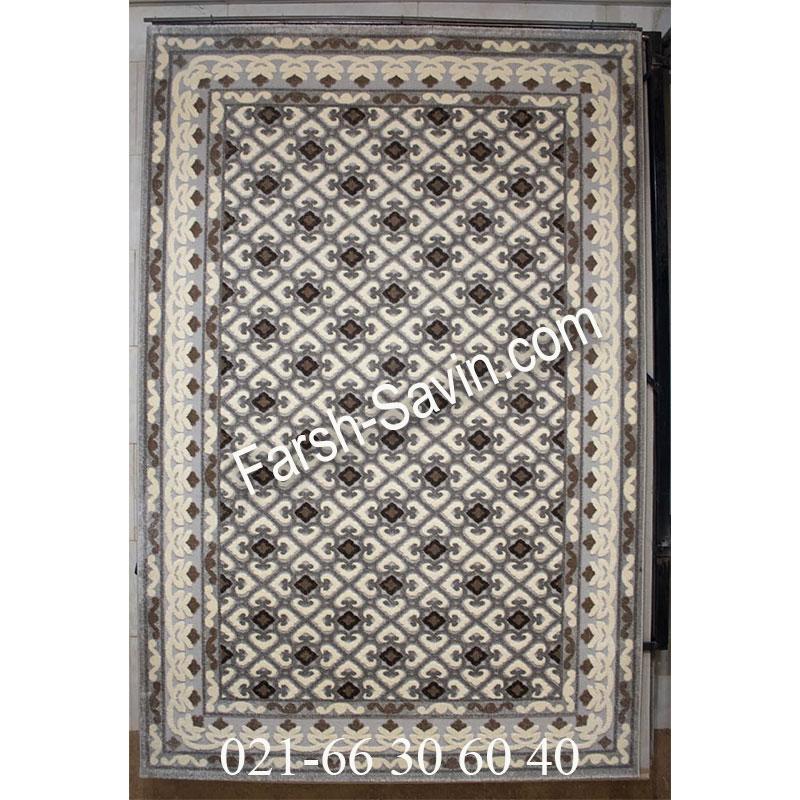 فرش ساوین 7409 نقره ای روشن فرش اتاق خواب