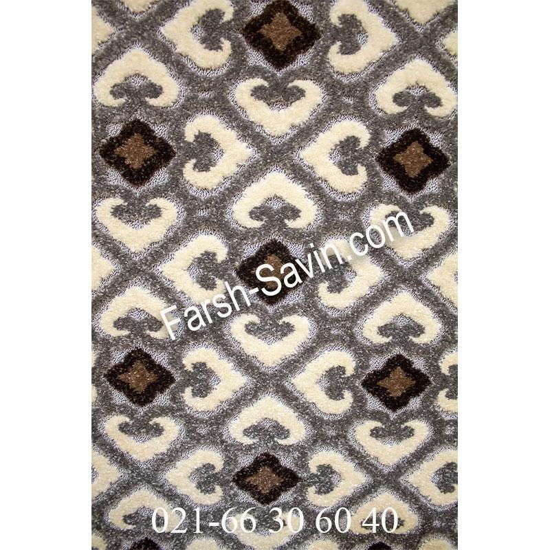 فرش ساوین 7409 نقره ای روشن فرش با کیفیت