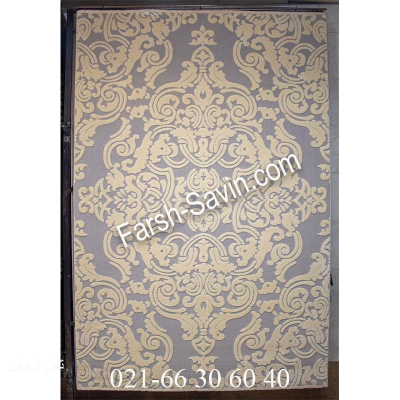 فرش ساوین 7410 نقره ای روشن فرش با کیفیت