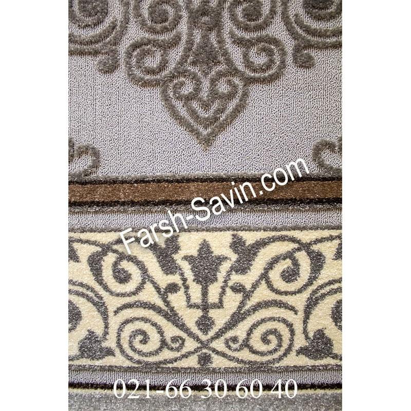 فرش ساوین 7412 نقره ای روشن فرش خاص