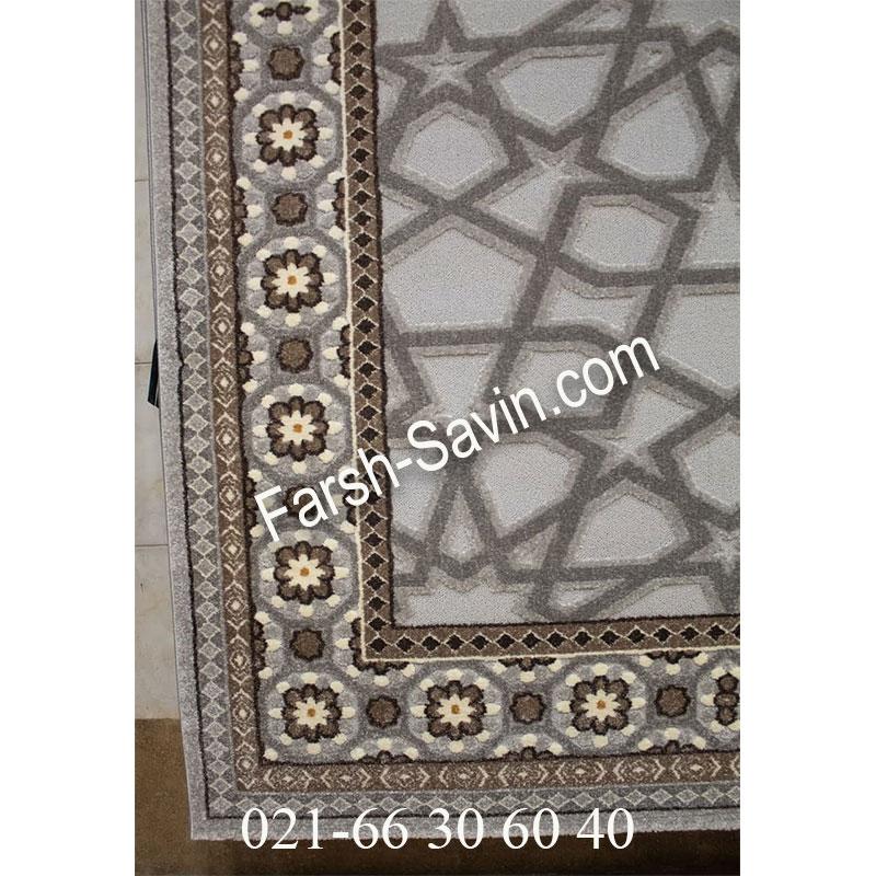 فرش ساوین 7417 نقره ای روشن فرش زیبا