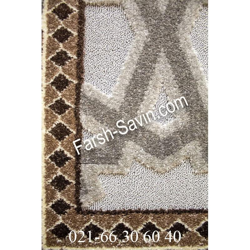 فرش ساوین 7417 نقره ای روشن فرش پرفروش