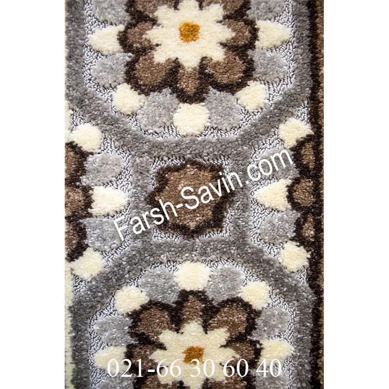فرش ساوین 7417 نقره ای روشن فرش خاص