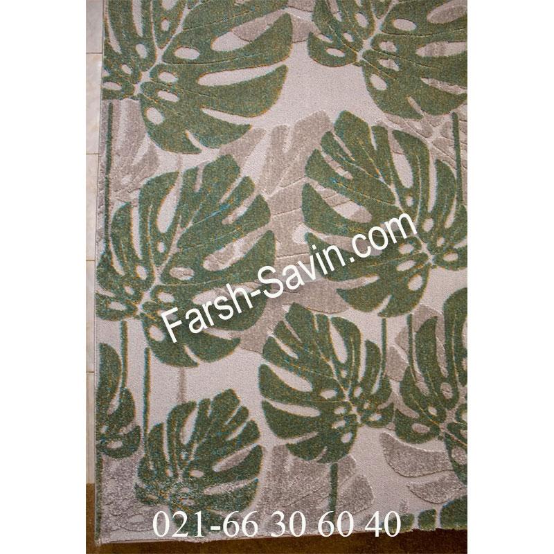 فرش ساوین 7420 نقره ای روشن فرش پرفروش