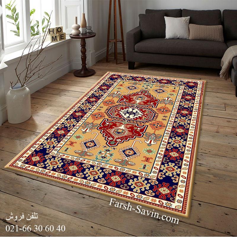 فرش ساوین طوبی 2 عسلی فرش پر تراکم