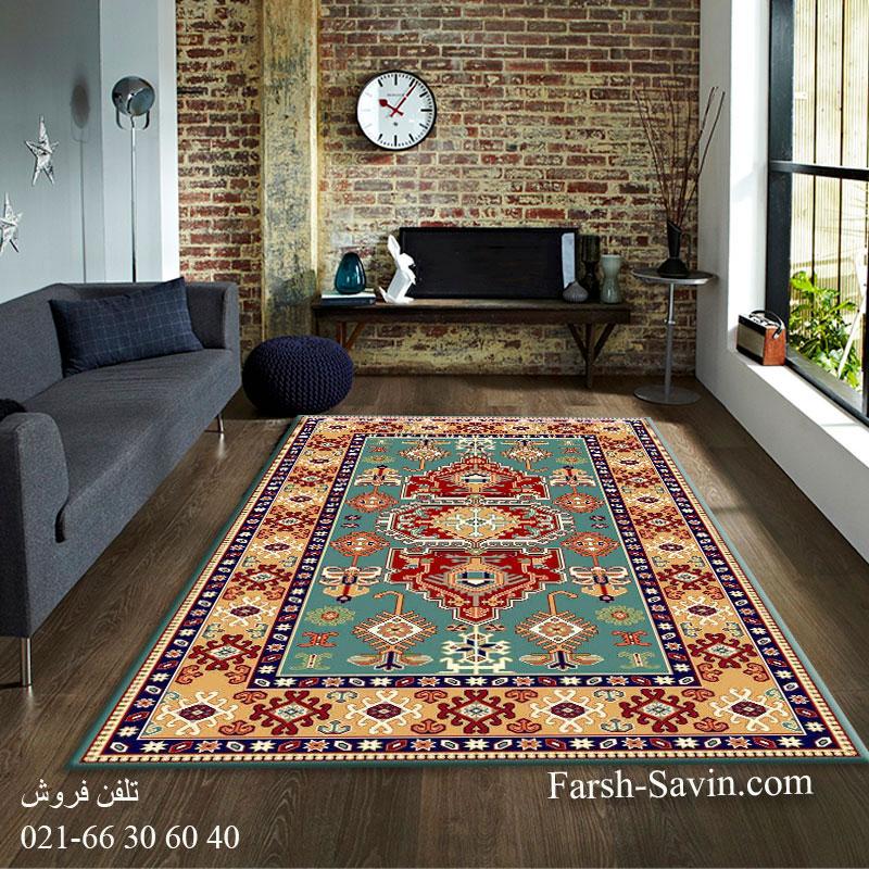 فرش ساوین طوبی 2 آبی فرش عشایری