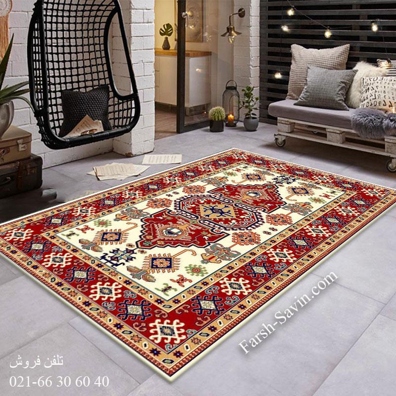 فرش ساوین طوبی 2 کرم فرش زیبا