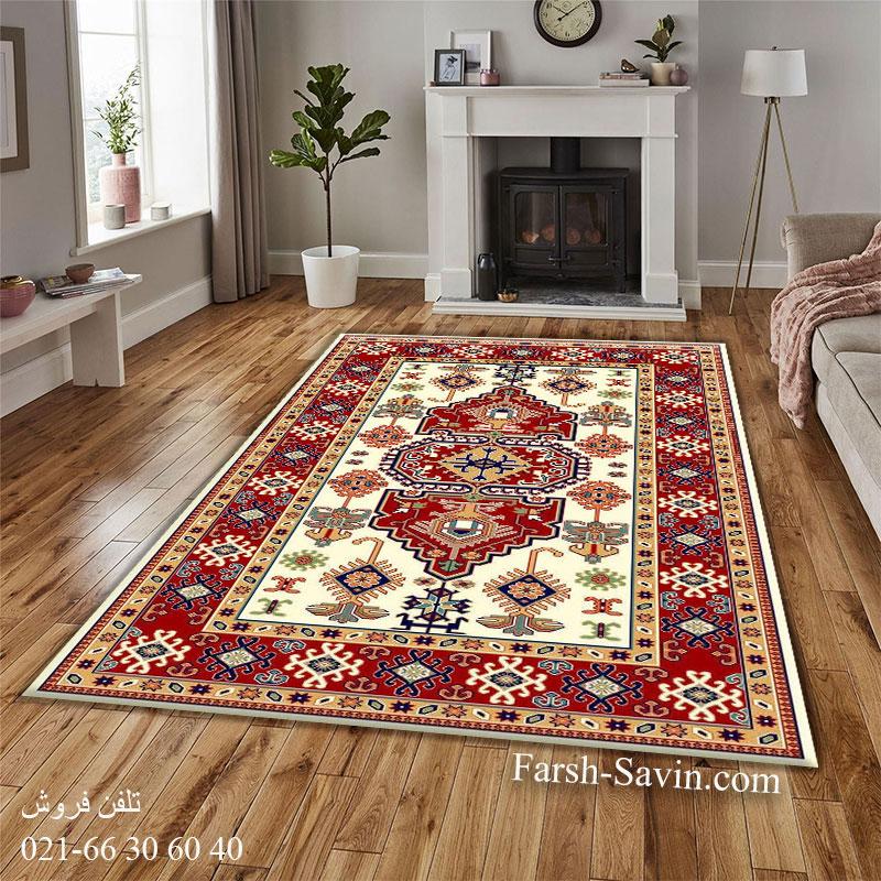 فرش ساوین طوبی 2 کرم فرش فانتزی
