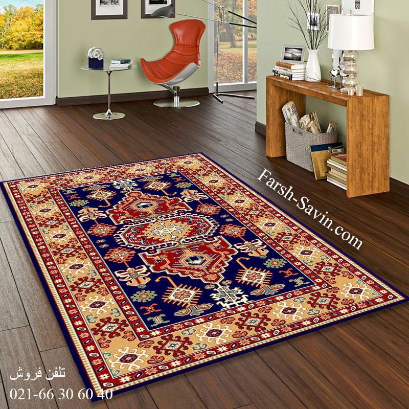 فرش ساوین طوبی 2 سرمه ای فرش فانتزی