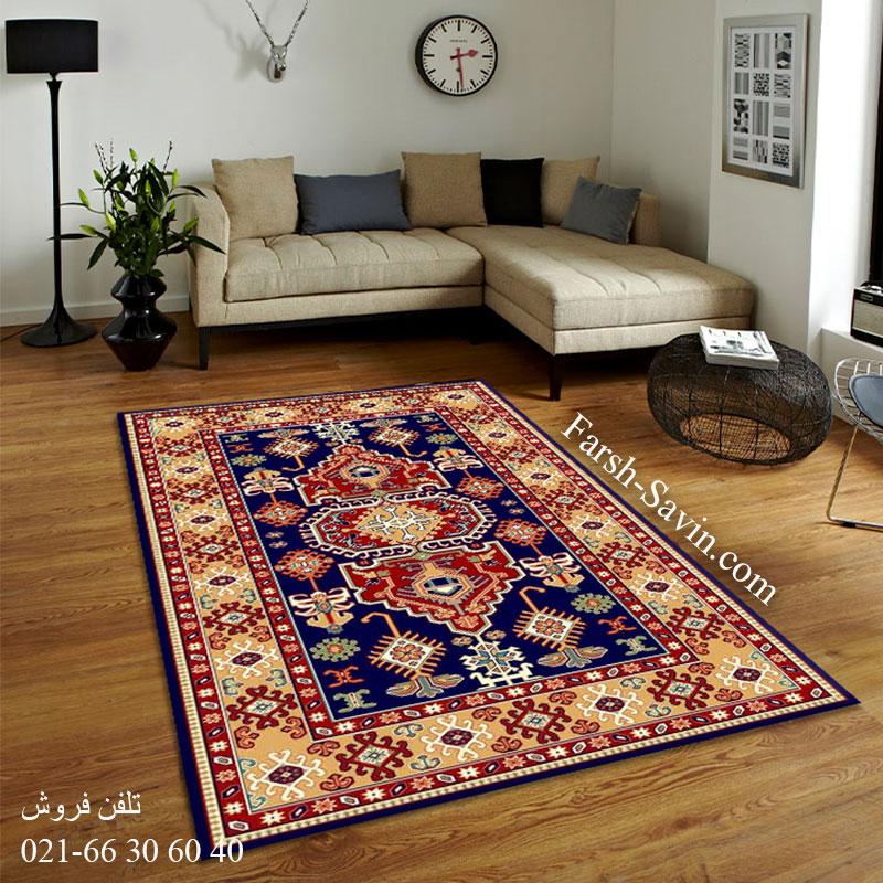 فرش ساوین طوبی 2 سرمه ای فرش عشایری