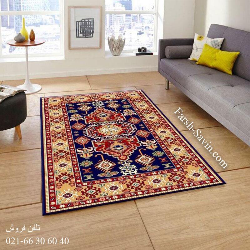 فرش ساوین طوبی 2 سرمه ای فرش روستایی