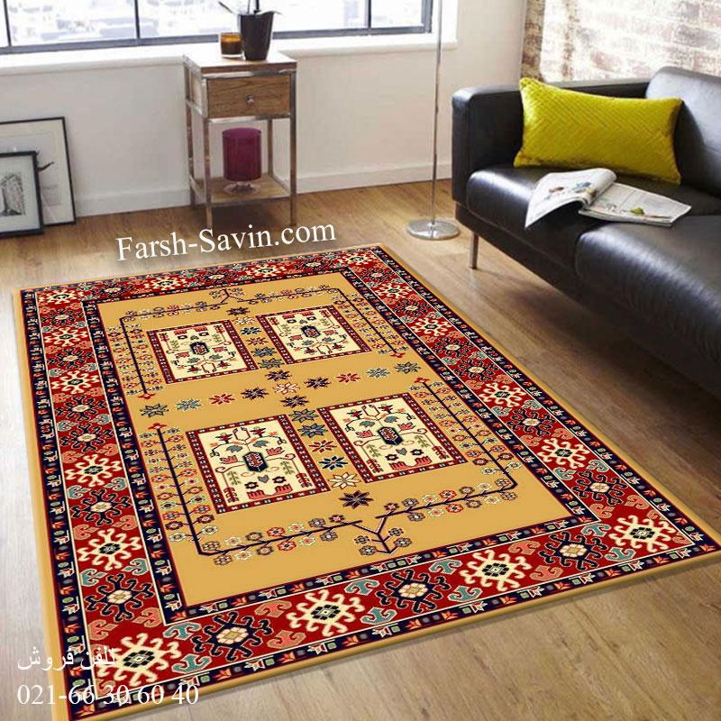 فرش ساوین قشقایی 2 عسلی فرش ارزان