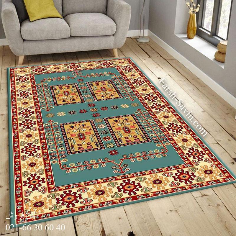 فرش ساوین قشقایی 2 آبی فرش سنتی