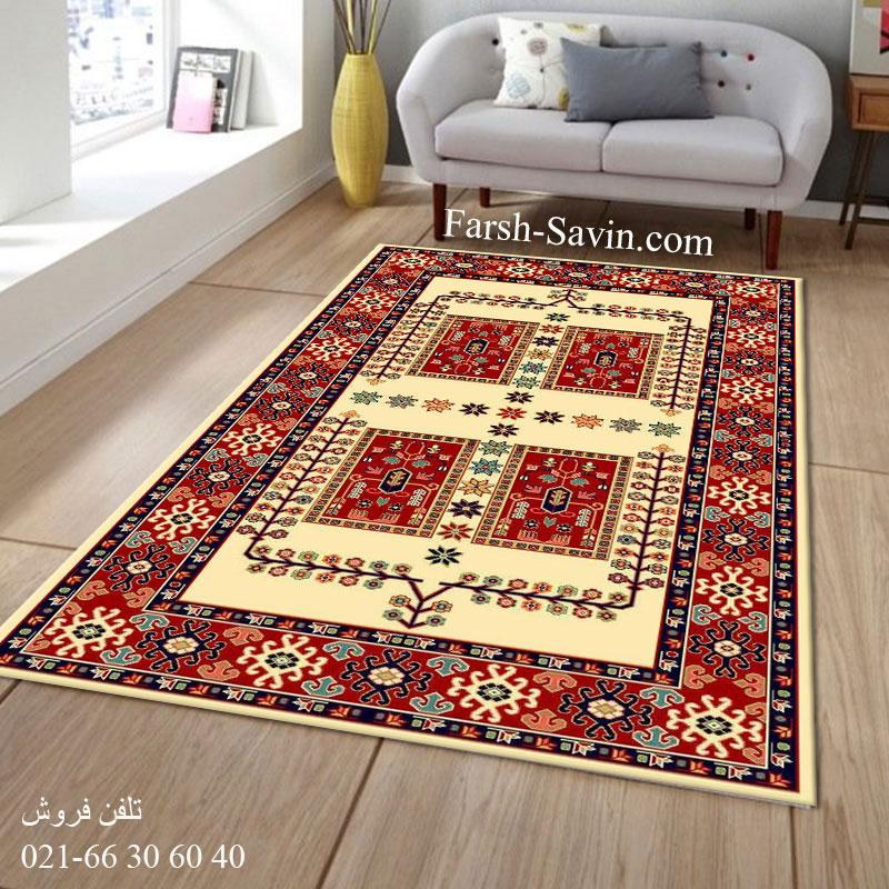 فرش ساوین قشقایی 2 کرم فرش گبه