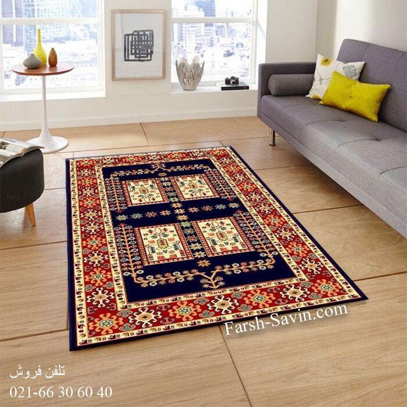 فرش ساوین قشقایی 2 سرمه ای فرش ارزان