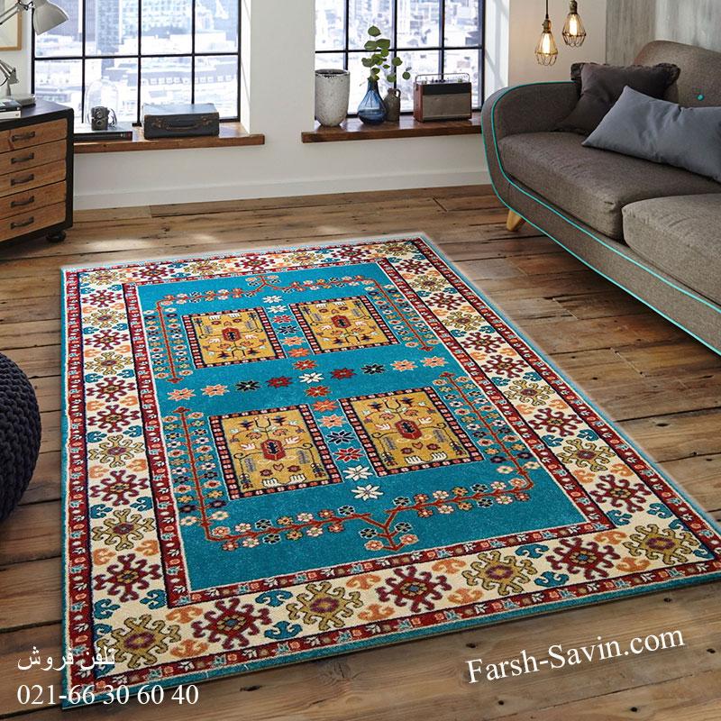 فرش ساوین قشقایی آبی فرش ارزان