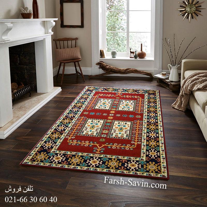 فرش ساوین قشقایی لاکی فرش سنتی