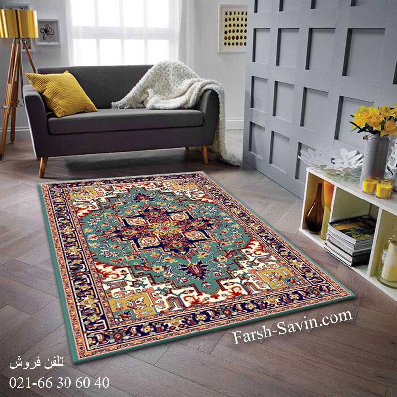 فرش ساوین هریس 2 آبی فرش سنتی