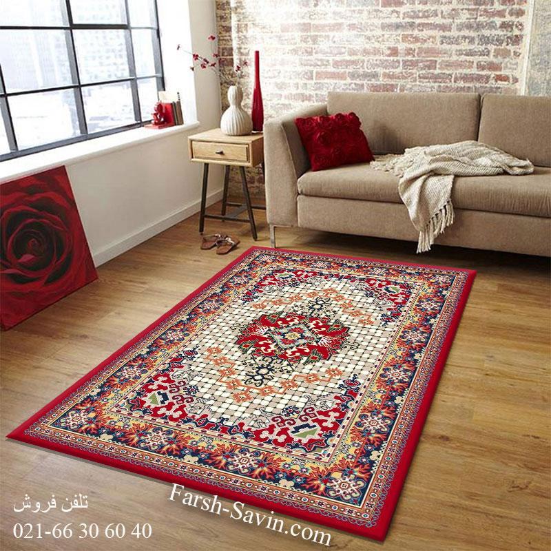 فرش ساوین حوض کاشی لاکی فرش سنتی