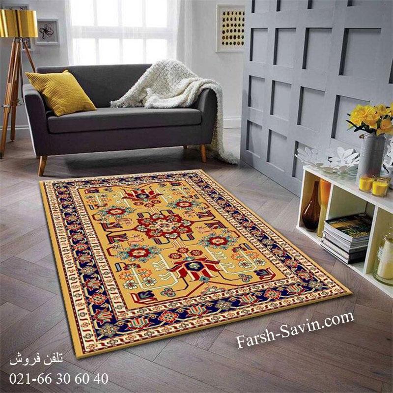 فرش ساوین مهربان 2 عسلی فرش سنتی