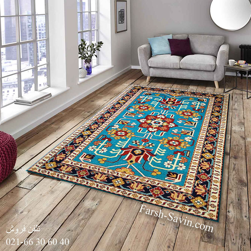 فرش ساوین مهربان آبی فرش ارزان