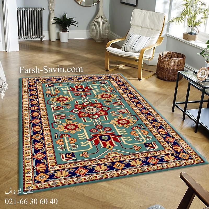 فرش ساوین مهربان 2 آبی فرش ارزان