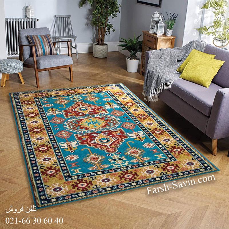 فرش ساوین طوبی آبی فرش روستایی